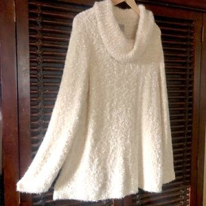 NWT Chico's 4 XXL Ivory Shimmer COZY Cowl Sweater